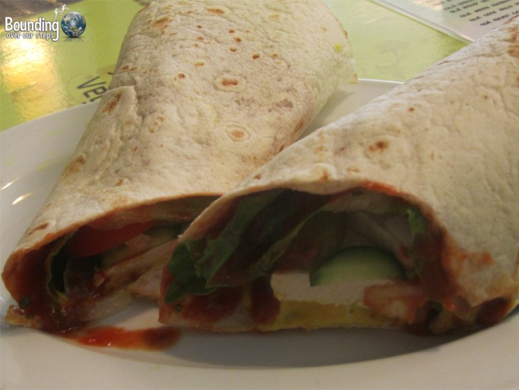 The raw tofu wrap at Taste of Life, an organic vegan restaurant in Tel Aviv