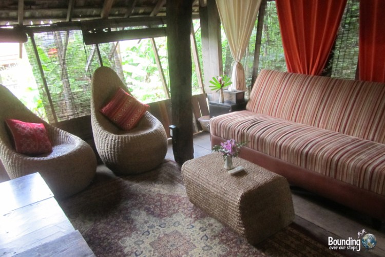 Seating area of Rice Barn suite at Baan Boo Loo