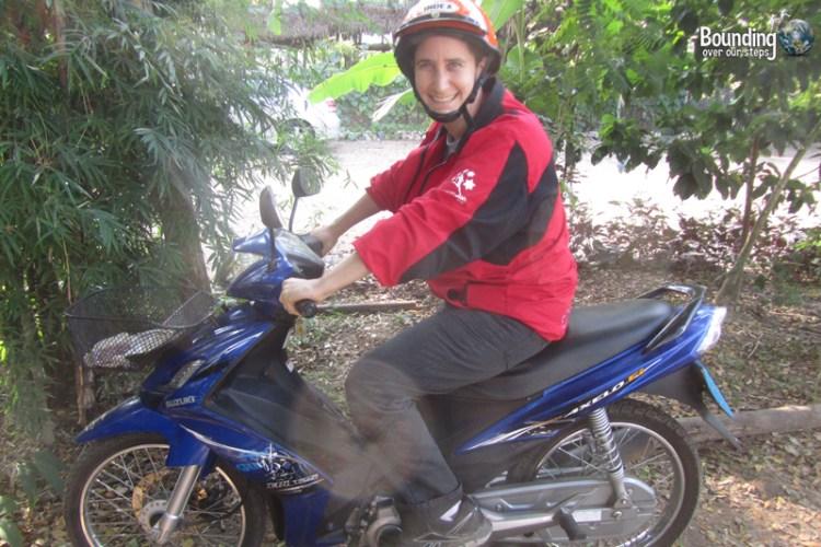Mindy on the motorbike at Elephant Nature Park