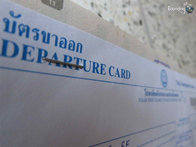 Departure Card from Thailand Immigration