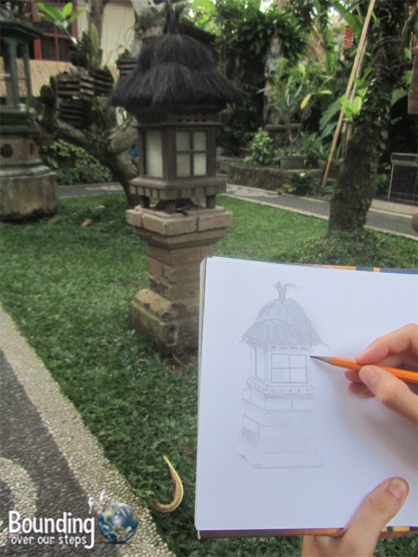 Mindy sketching during Nyepi