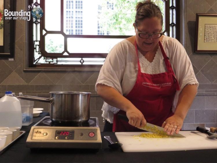 Chopping ginger for the dessert