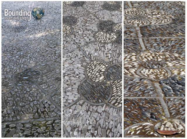 Different stone patterns throughout the garden