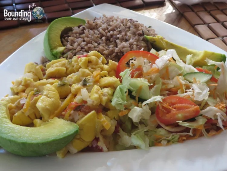 Vegan in Jamaica - Rice, Lentils and Stewed Ackee