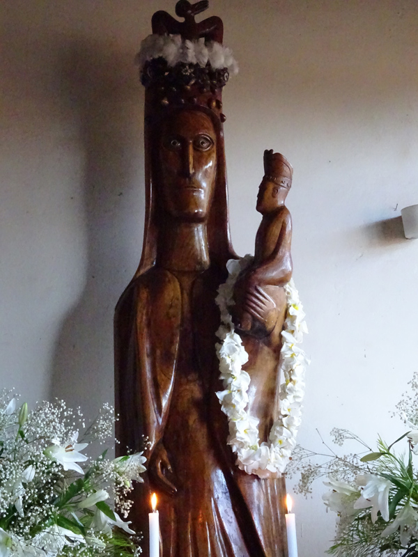 Church at Easter Island - Carving of Mary and Child