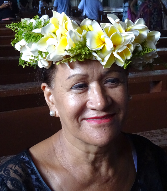 Church at Easter Island - Woman with Flowers in Hair