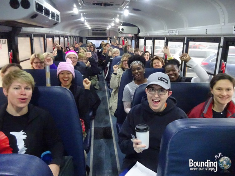 Womens March DC - Excited Bus