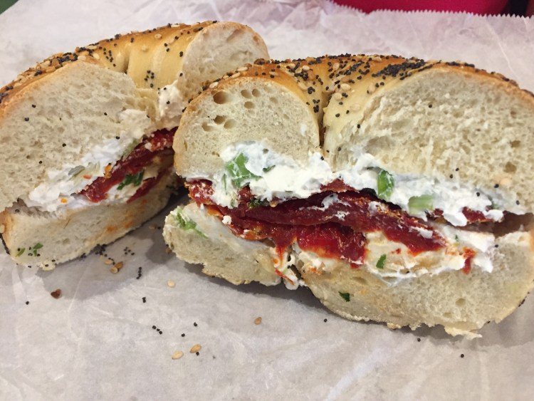 Our Vegan Weekend in NYC - Everything Bagel with scallion tofu cream cheese and sun-dried tomatoes from Tompkins Square Bagels