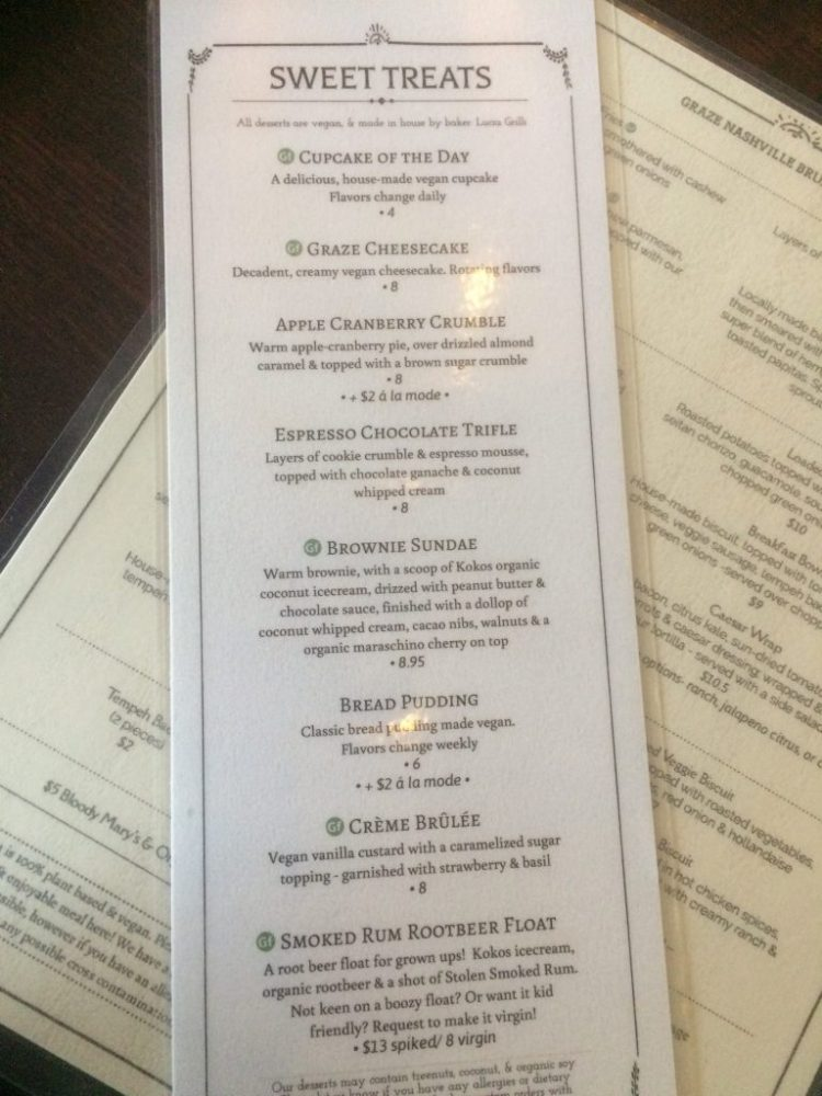 Vegan in Nashville - Graze dessert menu