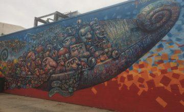 Colorful graffiti mural in Jersey City