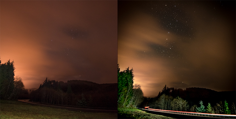 Side by side image of stars on a cloudy night at Cannon Beach, Oregon.