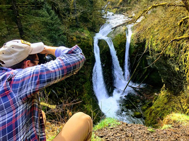 Triple Falls in Oeoneta Gorge in the Columbia River Gorge in Oregon.