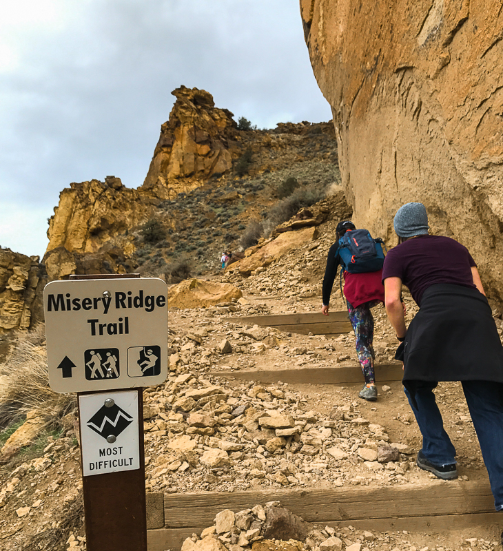 Difficulty sign for Misery Ridge at Smith Rock State Park, Terrebonne, Oregon.