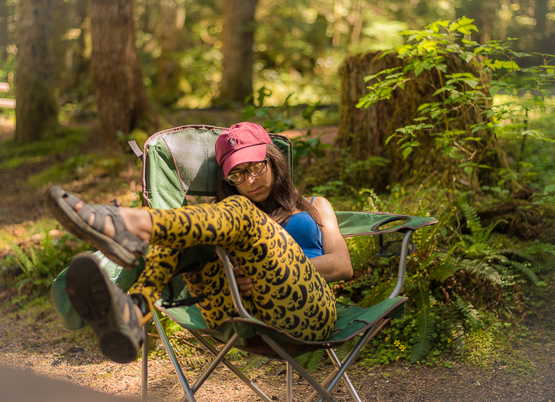 Angelina sleeping in a chair at Hurricane Ridge at Olympic National Park, WA in the Olympic Peninsula.