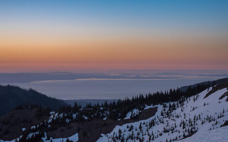 Sunset at Hurricane Ridge in Olympic National Park, Washington in the Olympic Peninsula.
