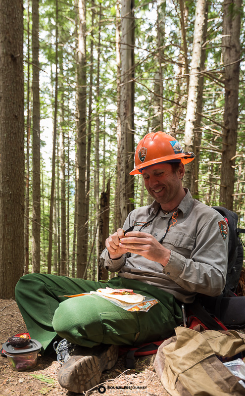 Lunch break for Ranger James at Mt.Rainier National Park