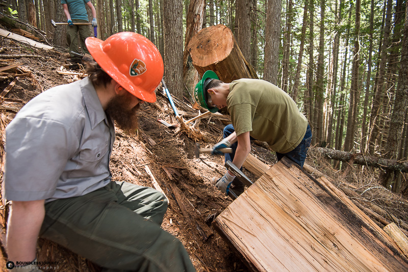 Learning how to split logs at Mt.Rainier National Park