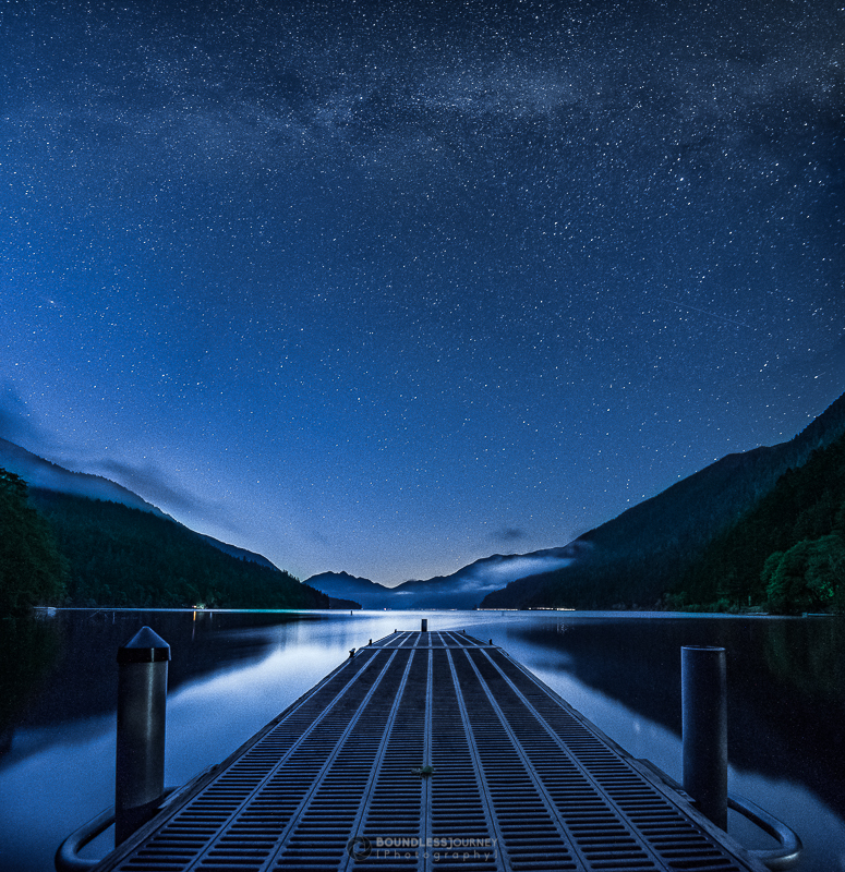 Starry night at Crescent Lake in Olympic National Park, Washington in the Olympic Peninsula.