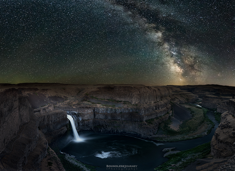 Milky Way over Palouse Falls in Washington. Astrophotography