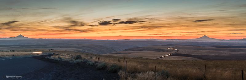 Sunset over Mt. Rainier, Mt. Hood, Mt. Adams, and Mt. St. Helens in Oregon. Boundless Journey
