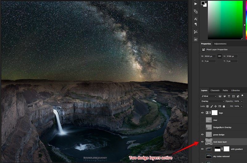 Two dodge layers active. Boundless Journey photo of Milky Way over Palouse Falls in Washington.
