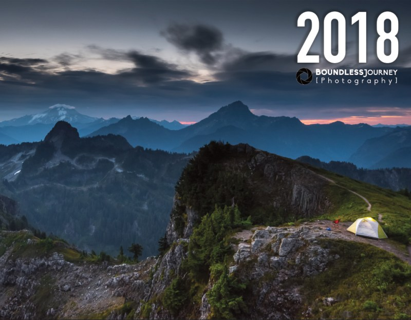 Boundless Journey Photography 2018 landscape calendar.