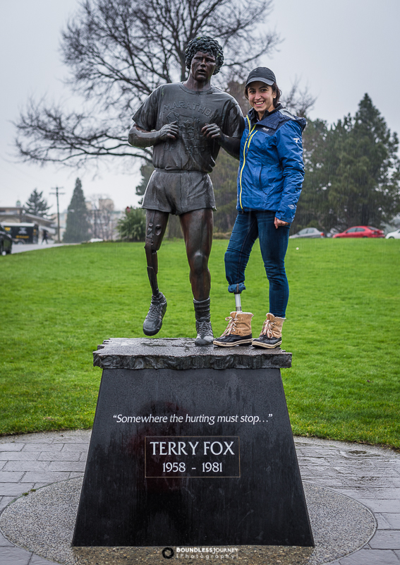 Angelina with Terry Fox statue in Beacon Hill Park in Victoria, British Columbia, Canada