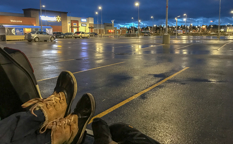 Free car camping in the parking lot of Walmart
