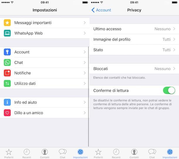 come nascondere l'ultimo accesso su whatsapp