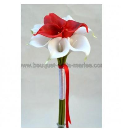 Bouquet De La Marie Thme Arums Blanc Et Rouge Sur Tige