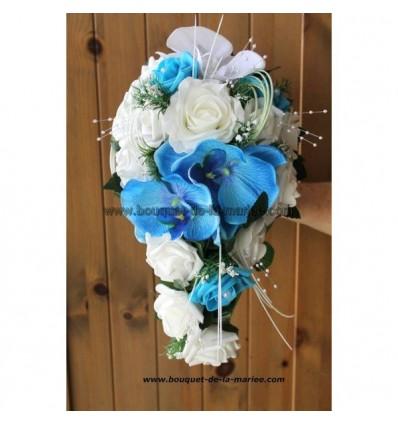 Bouquet De Mariage Tombant Thme Roses Orchides Blanc Et