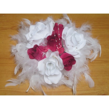Dcoration Table Mariage Thme Blanc Fuchsia Rond Roses