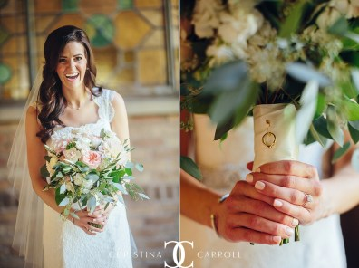 Organic bridal bouquet of pastel flowers with sentimental charm attached to bouquet.