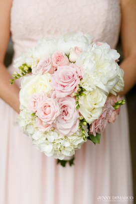 Blush roses and white hydrangea for a spring wedding.