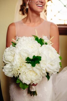 All white peony bridal bouquet.