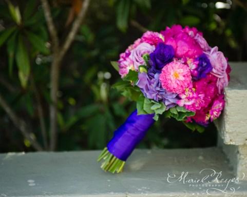 pink purple bouquet ribbon