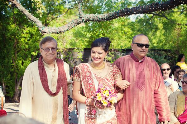Family escorting bride to ceremony