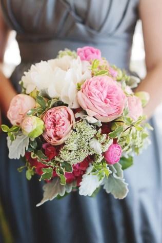 Pink garden roses, blush peony