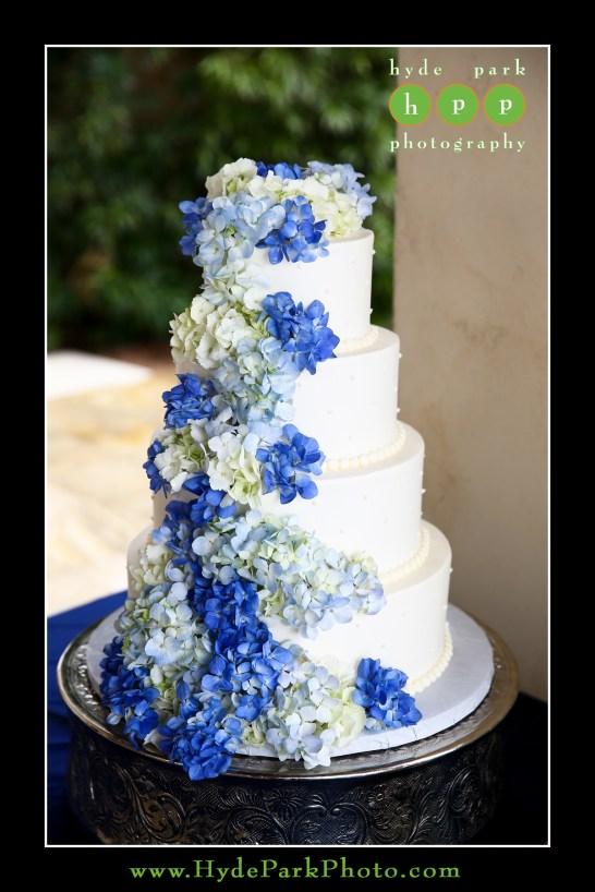 Cascading hydrangeas in shades of blues.
