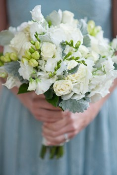 All white bouquets to complement a perfect minty blue bridesmaid dress.