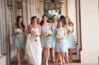 The bride and bridesmaids headed to the wedding.