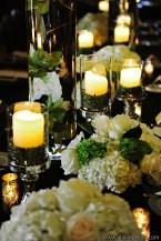 Mercury Glass candlesticks for wedding reception at Driskill Hotel