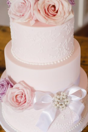 Ribbon and flowers for wedding cake.