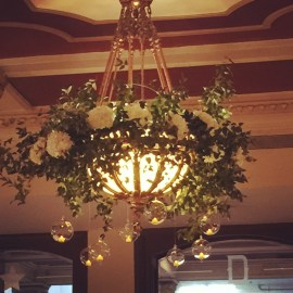 The Driskill Hotel chandelier with floral embellishments