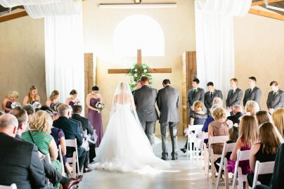Indoor ceremony at Lone Oak Barn