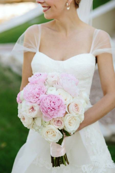 blush garden rose and pink peony bridal bouquet