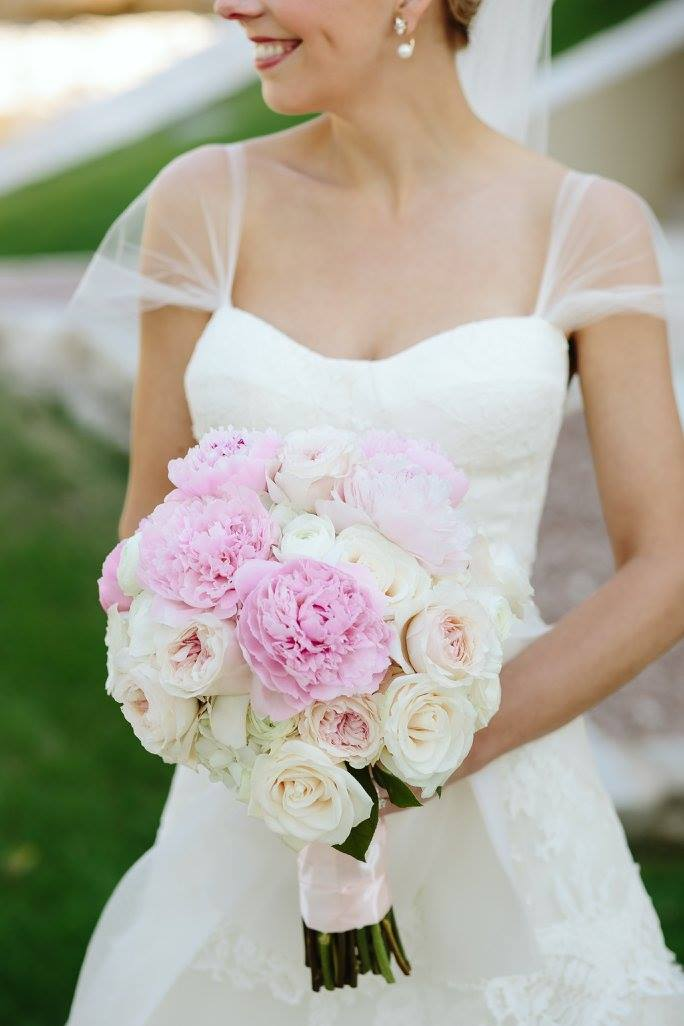 Blush Garden Rose And Pink Peony Bridal Bouquet.