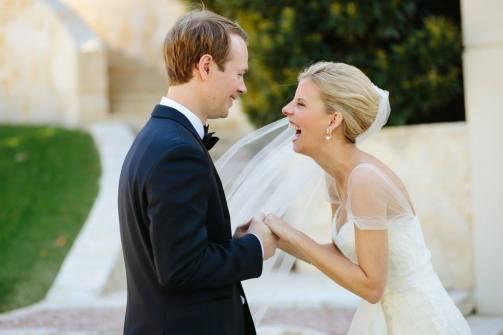 Exuberant bride during first look at Villa Del Lago