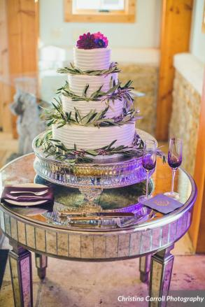 Wedding cake with olive foliage accents