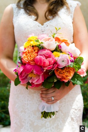 Colorful bridal bouquet of festive summer colors.